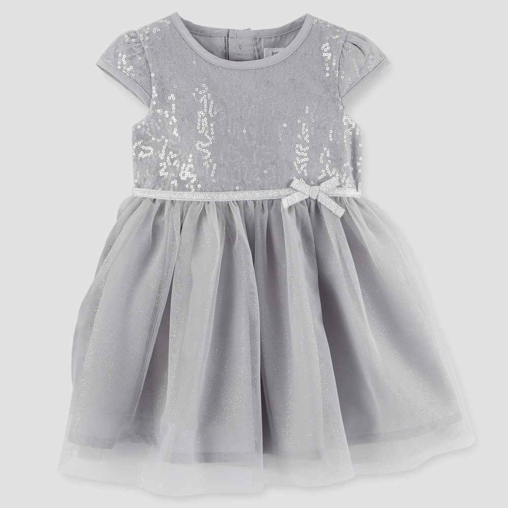 Toddler Girls Cap Sleeve Dress - Just One You Made by Carters Silver 4T, Gray