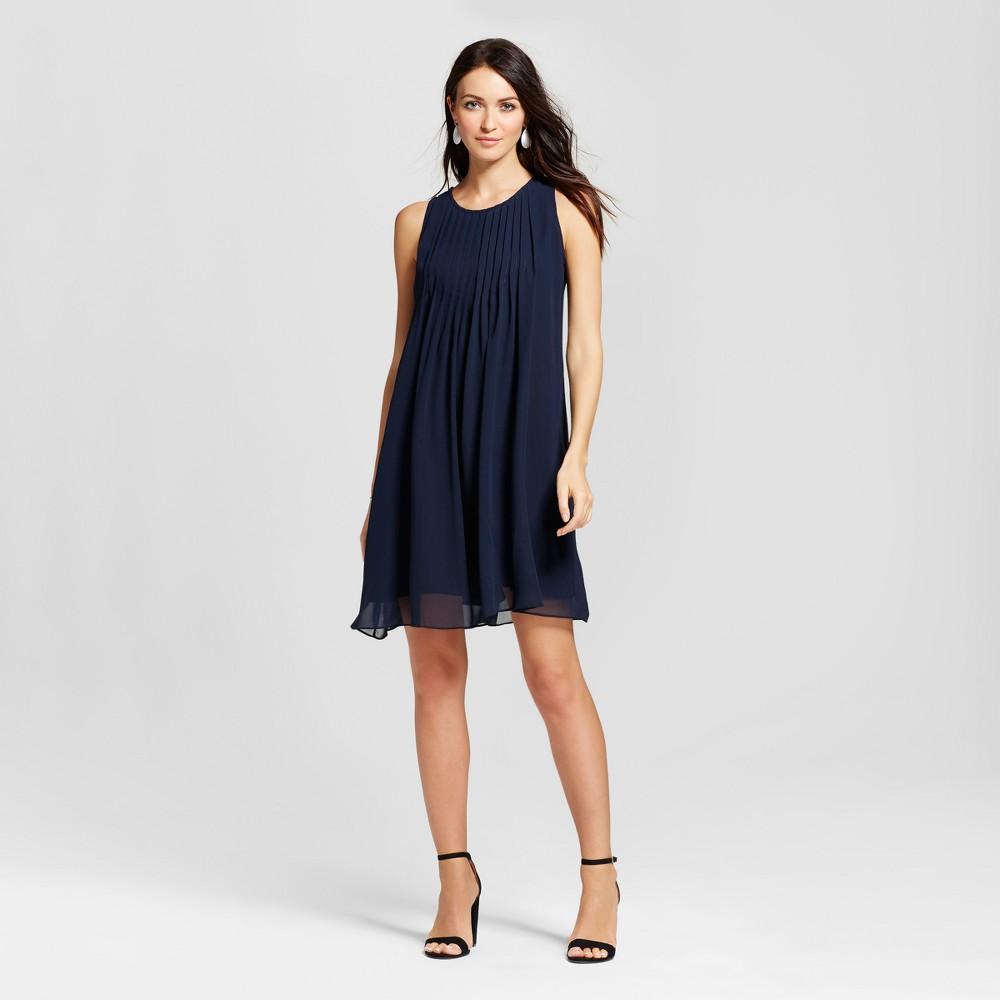 Womens Pleated Chiffon Trapeze Tank Dress - Zac & Rachel - Navy 6, Blue