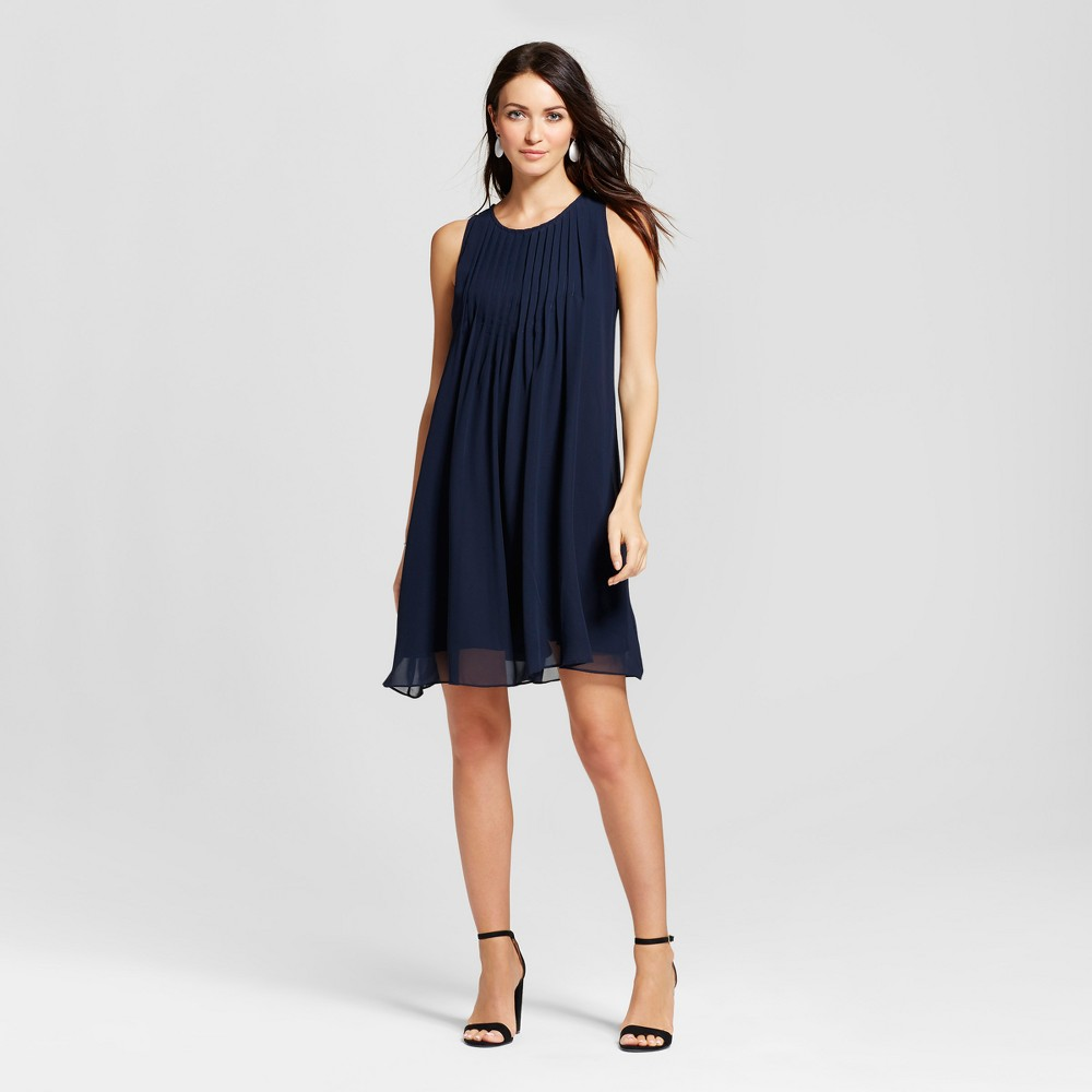 Womens Pleated Chiffon Trapeze Tank Dress - Zac & Rachel - Navy 8, Blue