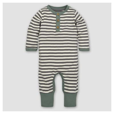 Burt's Bees Baby® Boys' Organic Mushroom Fields Henley Coverall - Gray 3-6M