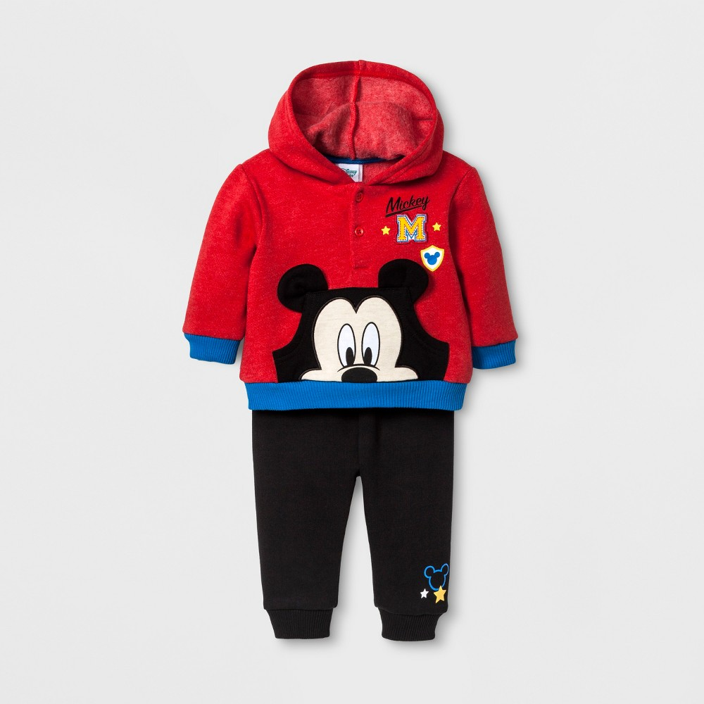 Baby Boys Disney Mickey Mouse Hoodie & Jogger Set - Red 3-6M, Size: 3-6 M