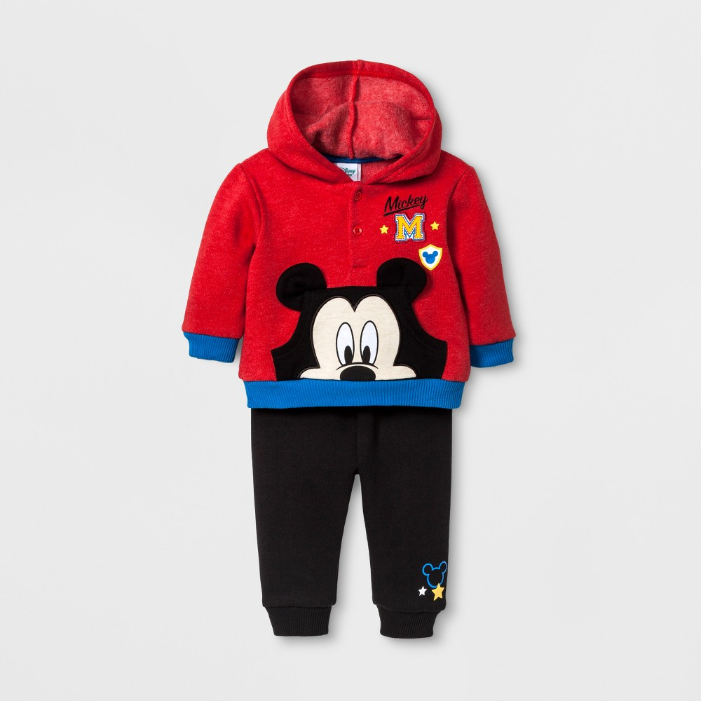 Baby Boys Disney Mickey Mouse Hoodie & Jogger Set - Red 9-12M, Size: 9-12 M