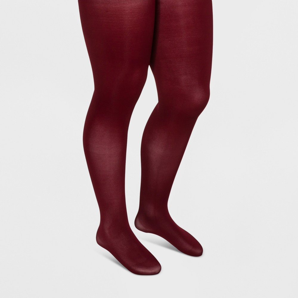 Plus Size Women's Plus 50D Opaque Tights - A New Day Red 2X