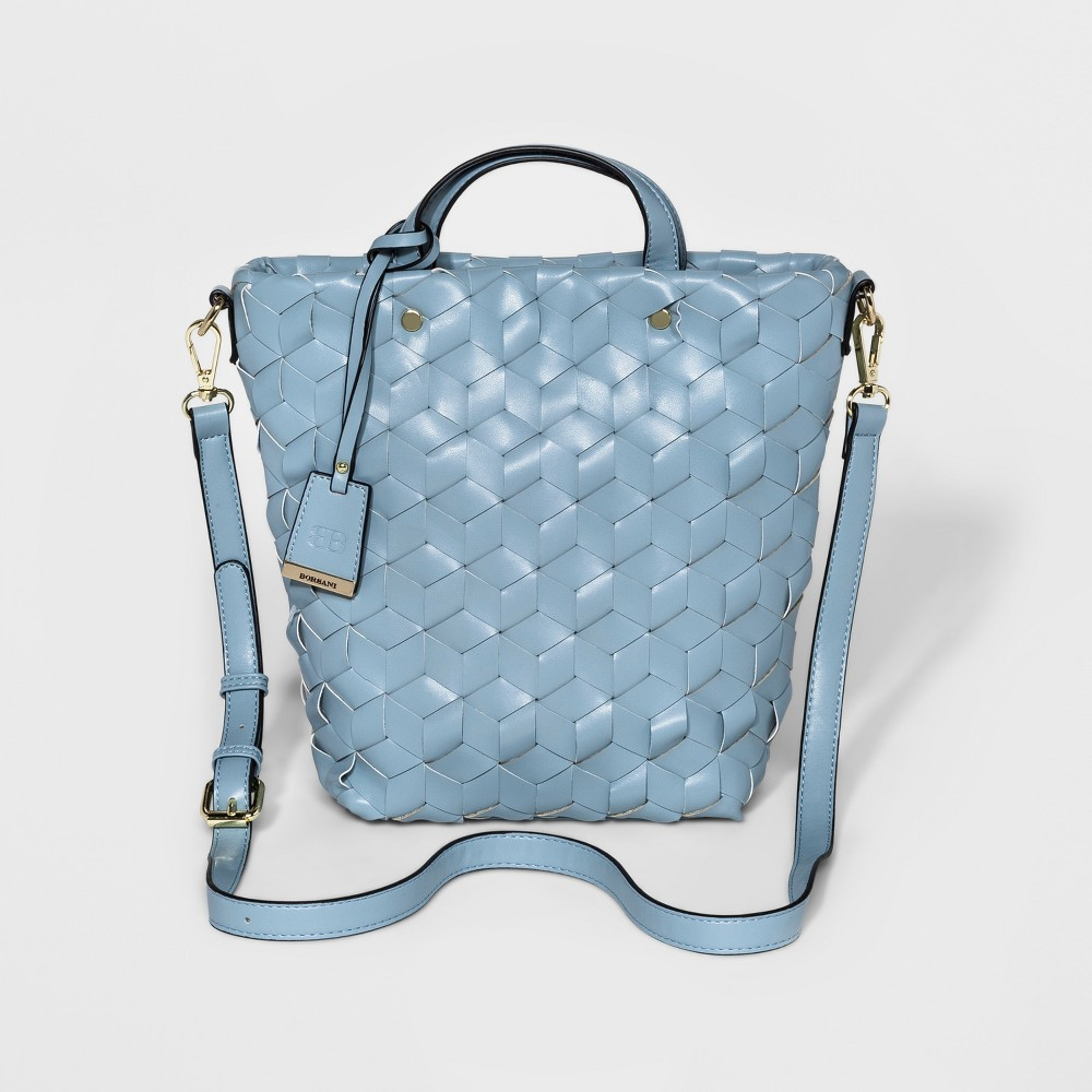 Borsani Womens Liza Woven Tote Handbag - Blue Gray