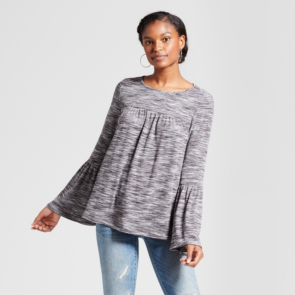Womens Marled Bell Sleeve Top - Knox Rose Charcoal L, Gray