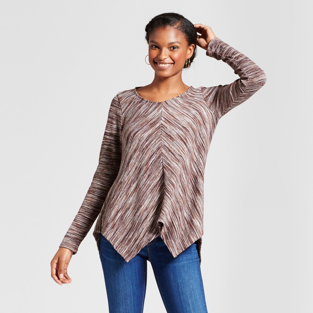 Womens Marled Sharkbite Top - Knox Rose Brown XS