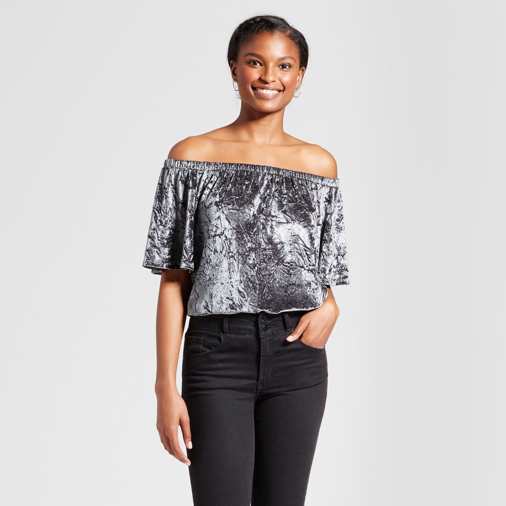 Womens Crushed Velvet Off the Shoulder Top - Knox Rose Slate Blue L
