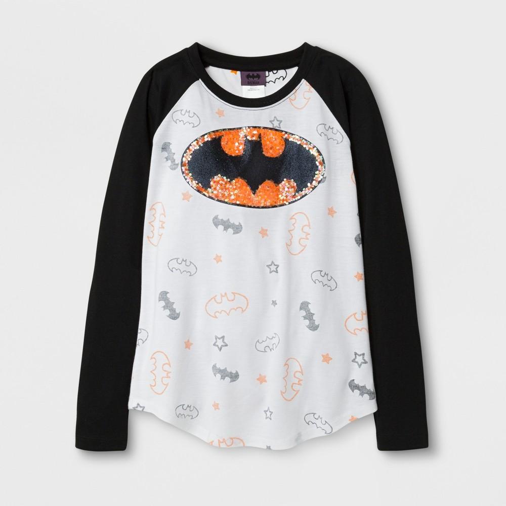 Girls Batgirl Long Sleeve Raglan T-Shirt - Black/White M, Gray