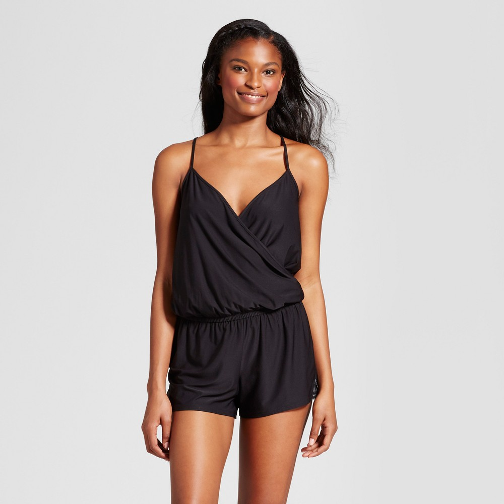 Women's Knit Romper Black L