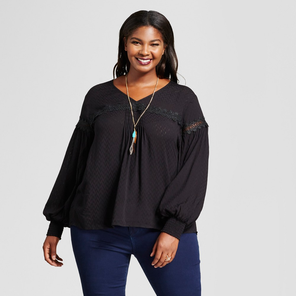 Womens Plus Size Peasant Blouse - A New Day Black 3X