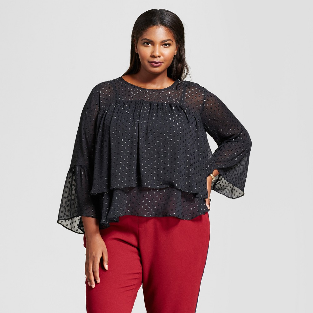Womens Plus Size Clip Spot Tiered Ruffle Blouse - A New Day Black 4X