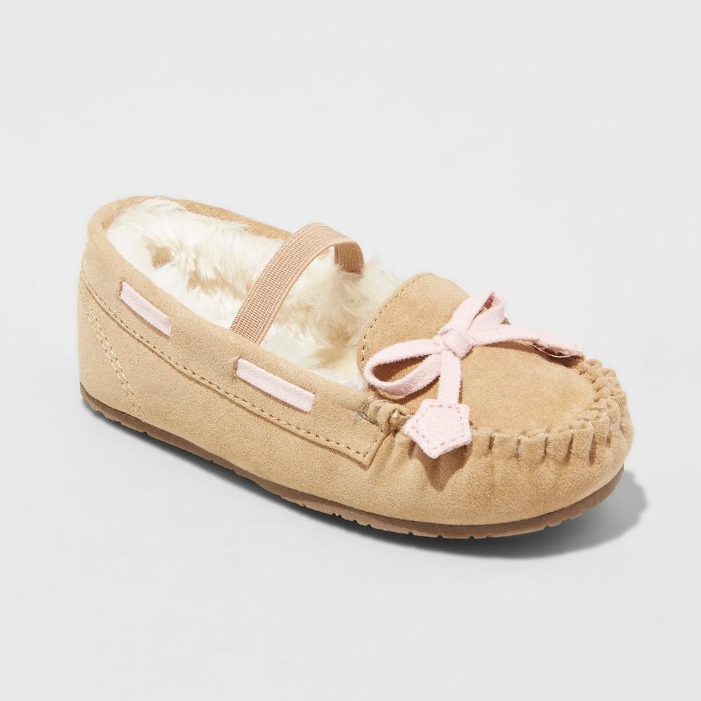 Toddler Girls Celina Moccasin Slippers - Cat & Jack Tan M(7-8), Size: M (7-8), Beige