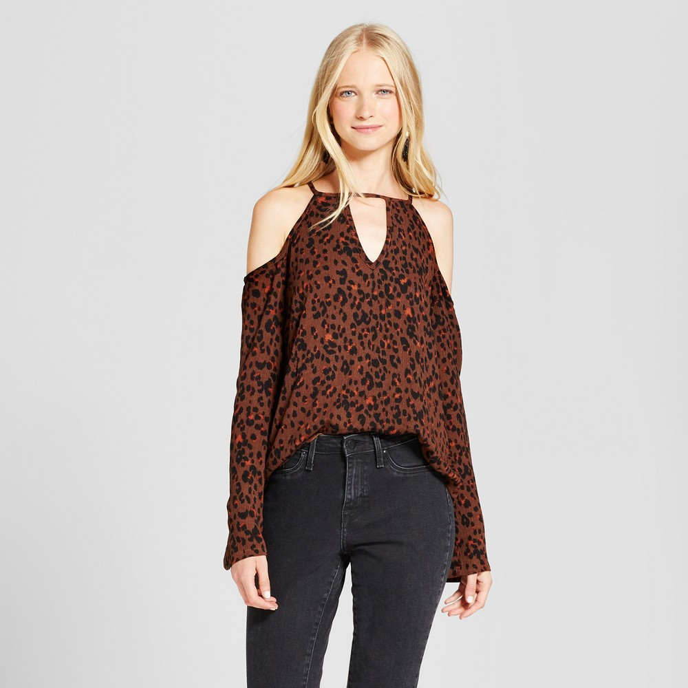 Womens Printed Keyhole Off the Shoulder Top - Mossimo Supply Co. Brown S