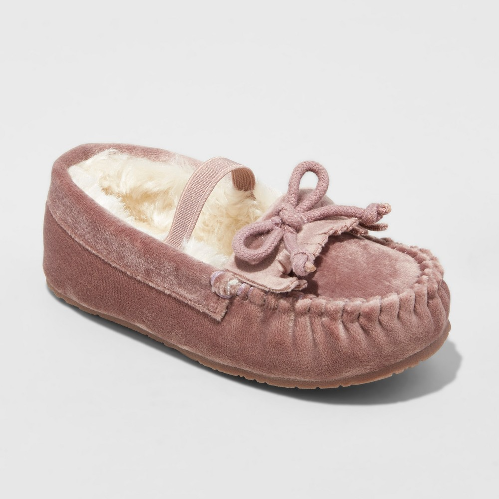 Toddler Girls Celina Velvet Moccasin Slippers - Cat & Jack Dusty Rose M(7-8), Size: M (7-8), Pink