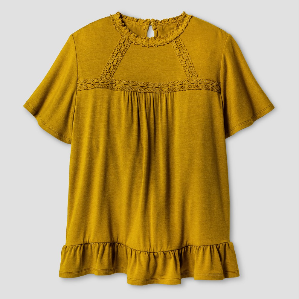 Girls Knit Blouse - Art Class Sage Meadow S, Yellow