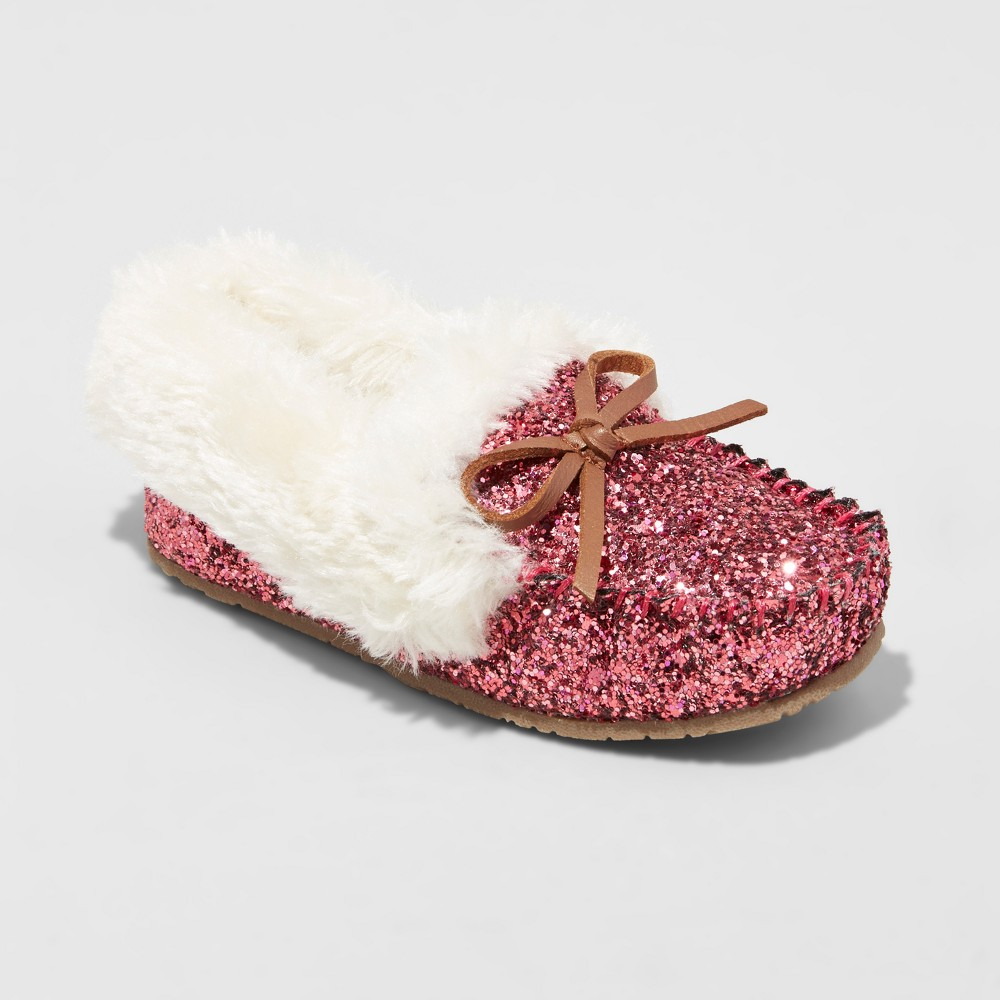 Toddler Girls Medora Glitter Moccasin Slippers - Cat & Jack Pink L(9-10), Size: L (9-10)