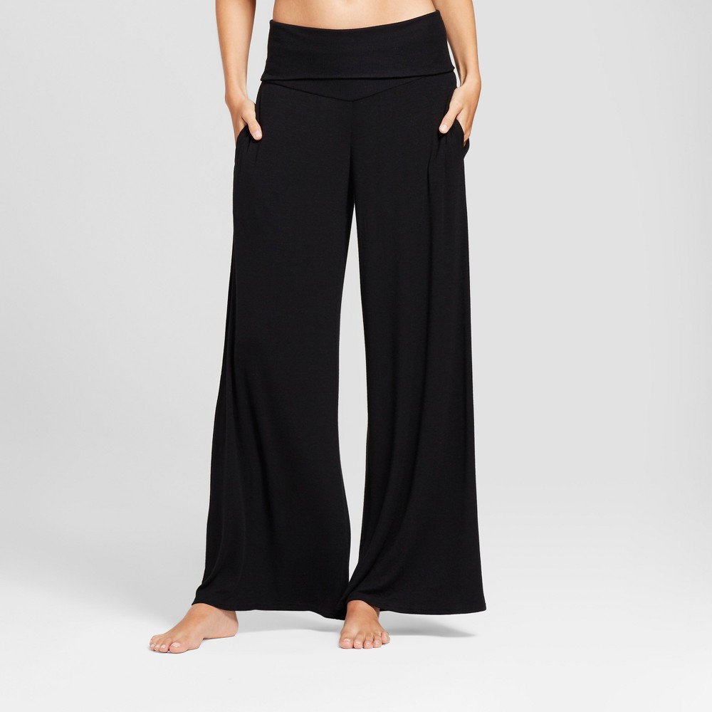 Womens Wide Leg Rib Knit Pajama Pants Black XL