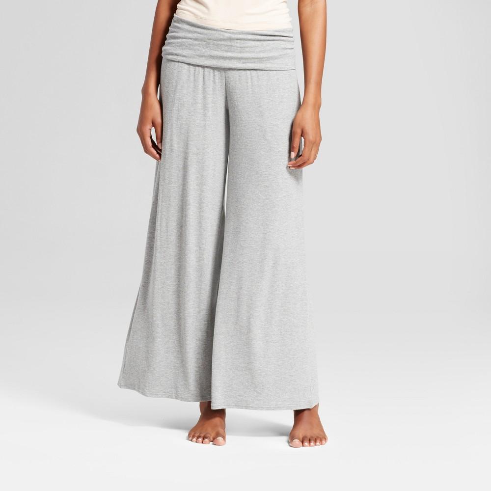 Womens Wide Leg Rib Knit Pajama Pants Medium Heather Gray S