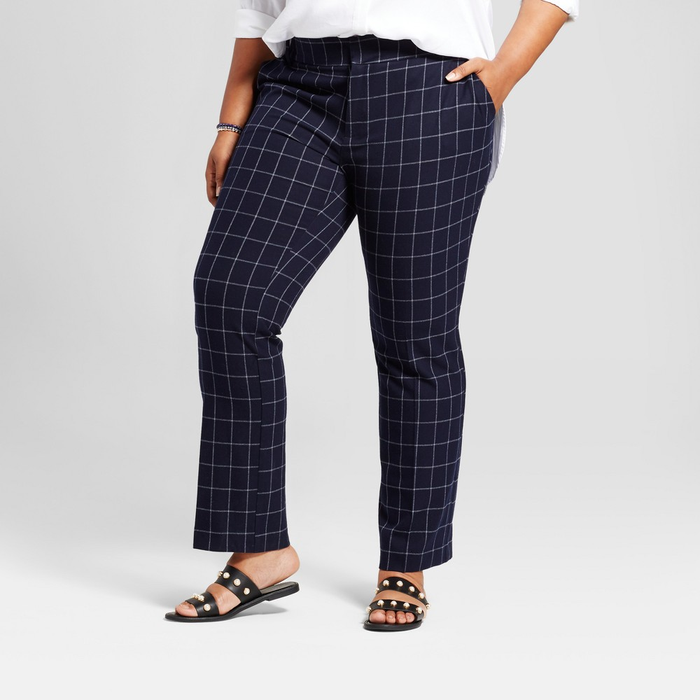 Womens Plus Size Wear to Work Plaid Trouser - Ava & Viv Navy 14W, Blue