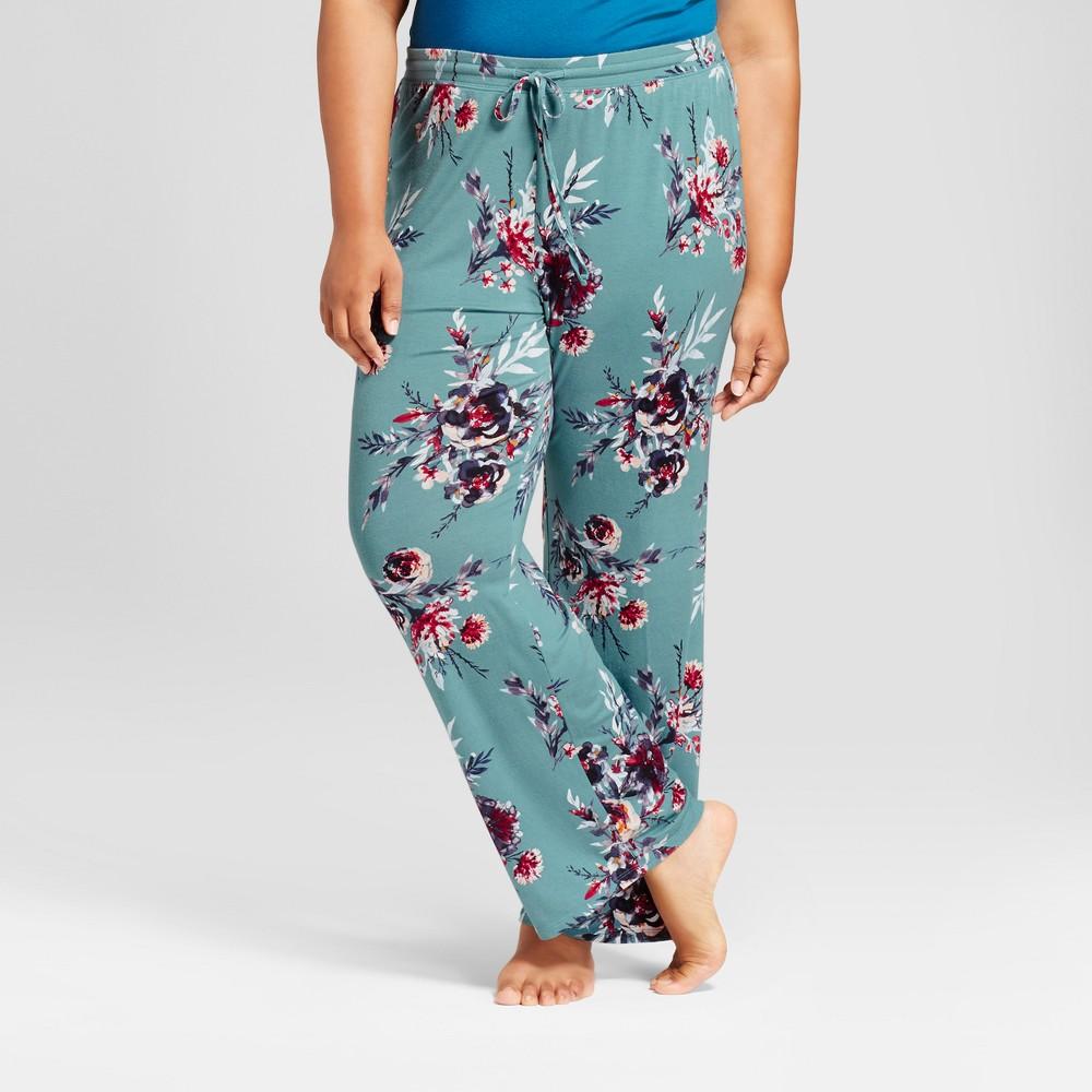 Womens Plus Size Pajama Pants Blue 2X