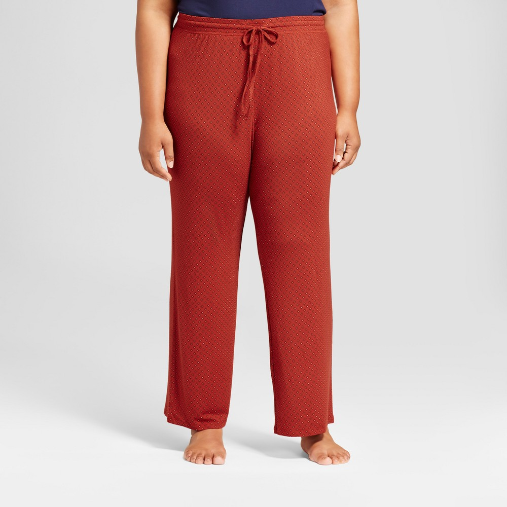 Womens Plus Size Pajama Pants Red 2X