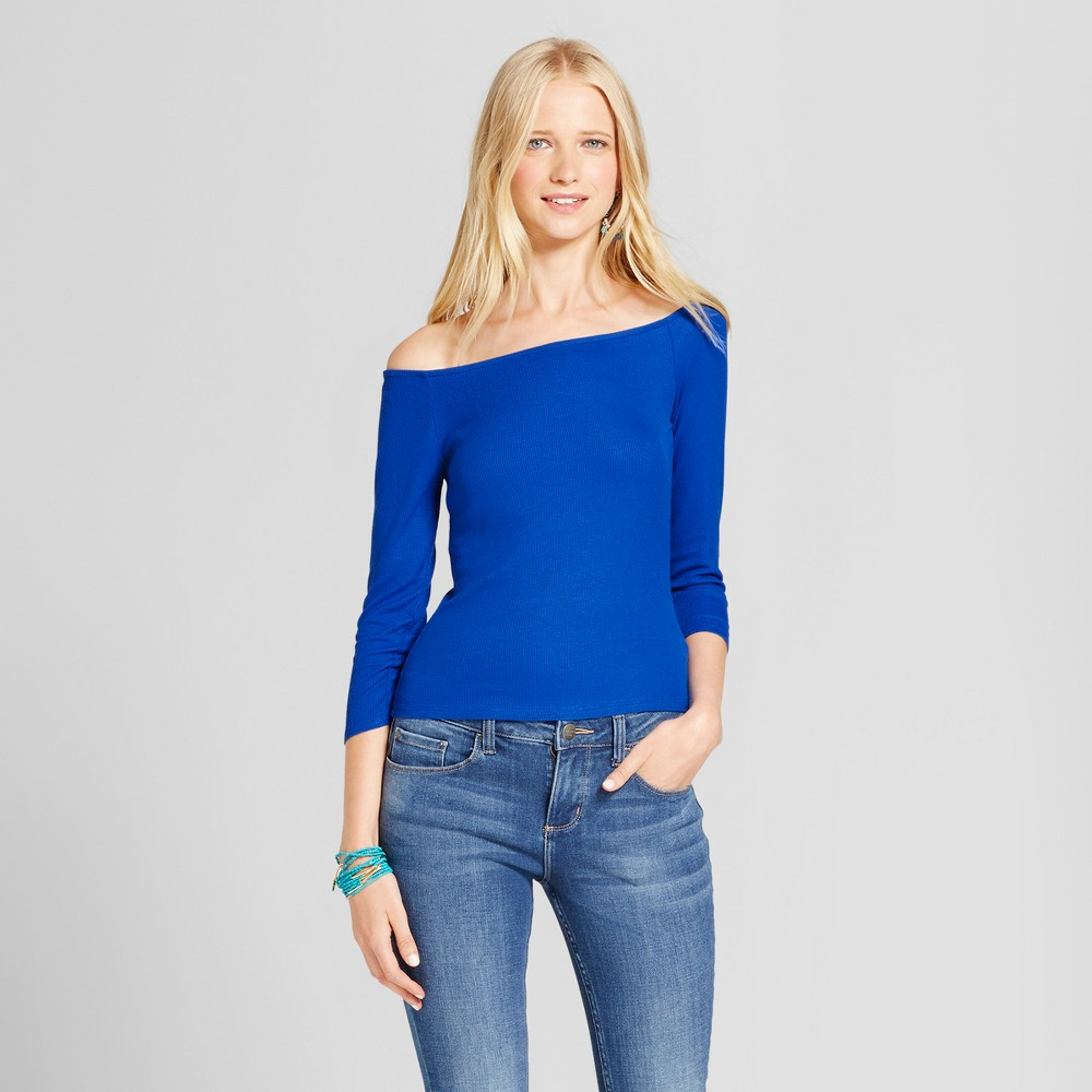 Womens Knit Bardot Long Sleeve T-Shirt - Mossimo Supply Co. Blue XS