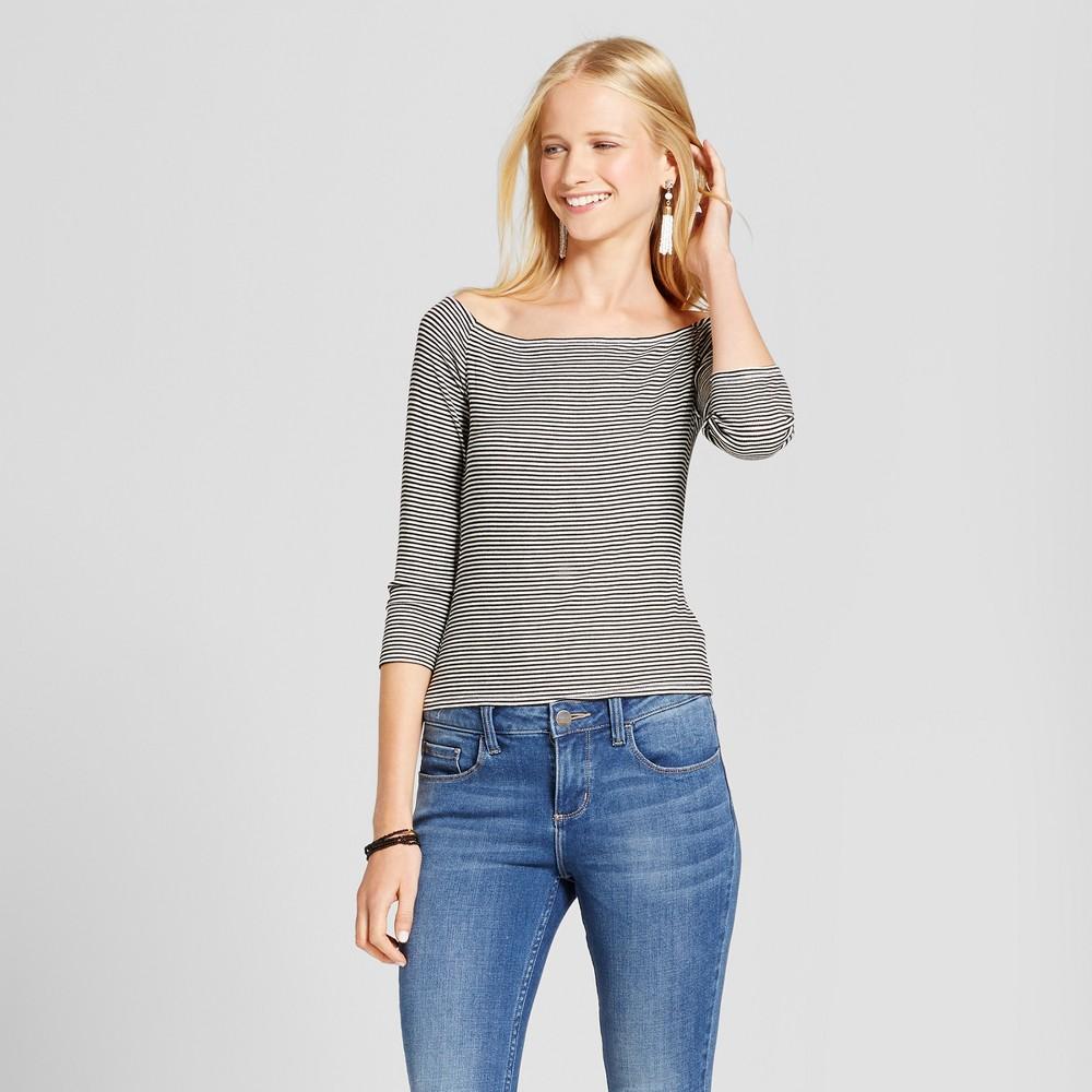 Women's Knit Bardot Long Sleeve T-Shirt - Mossimo Supply Co. Black/White Xxl