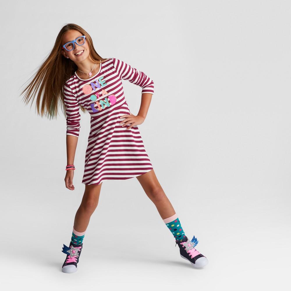 Girls Long sleeve Stripe Dress - Cat & Jack Burgundy XL, Red