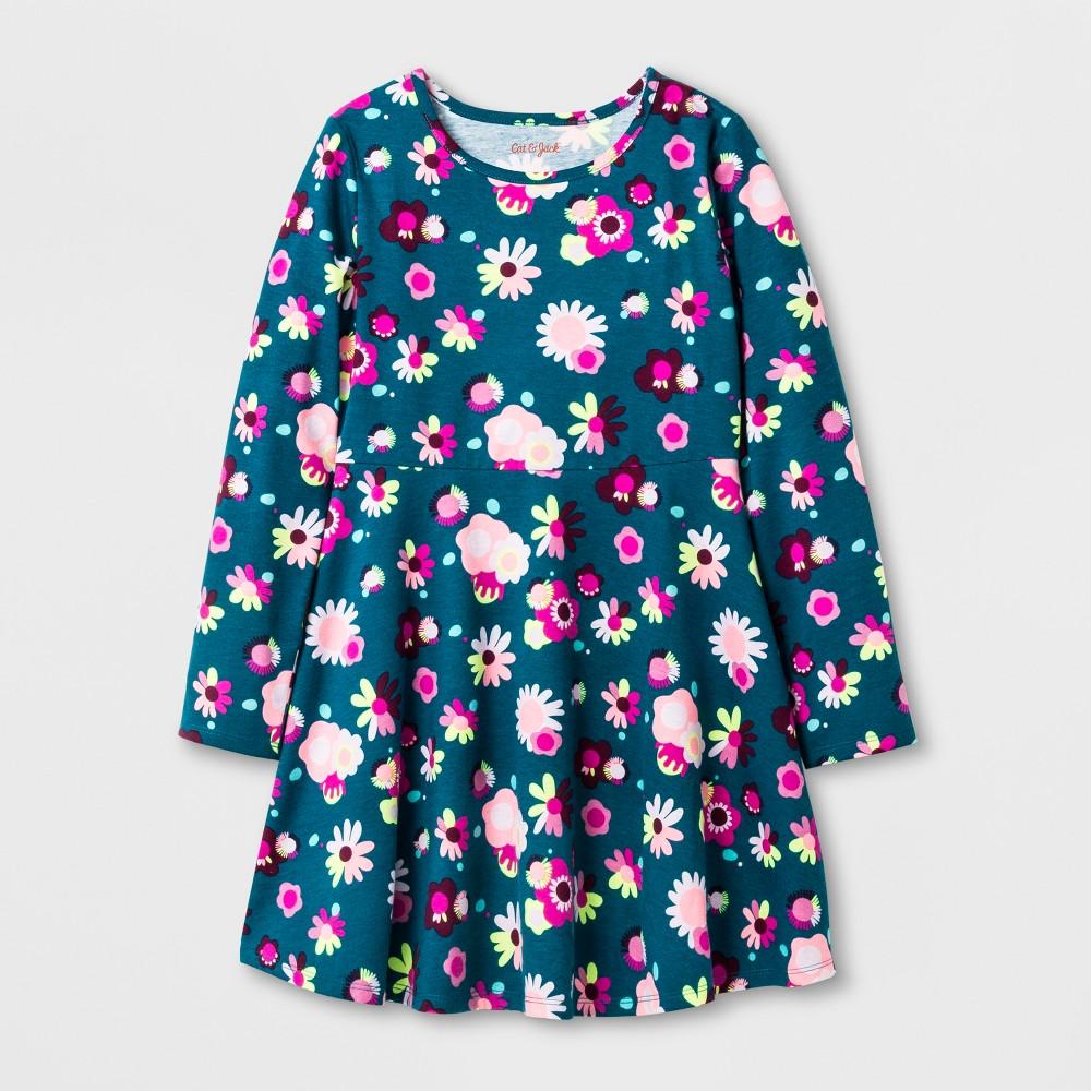 Girls Long sleeve Floral Print Dress - Cat & Jack Green M