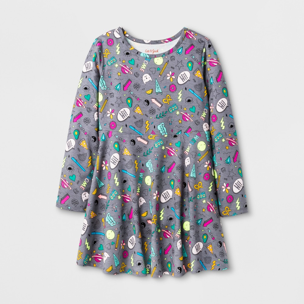 Girls Long sleeve Patches Print Dress - Cat & Jack L, Multicolored