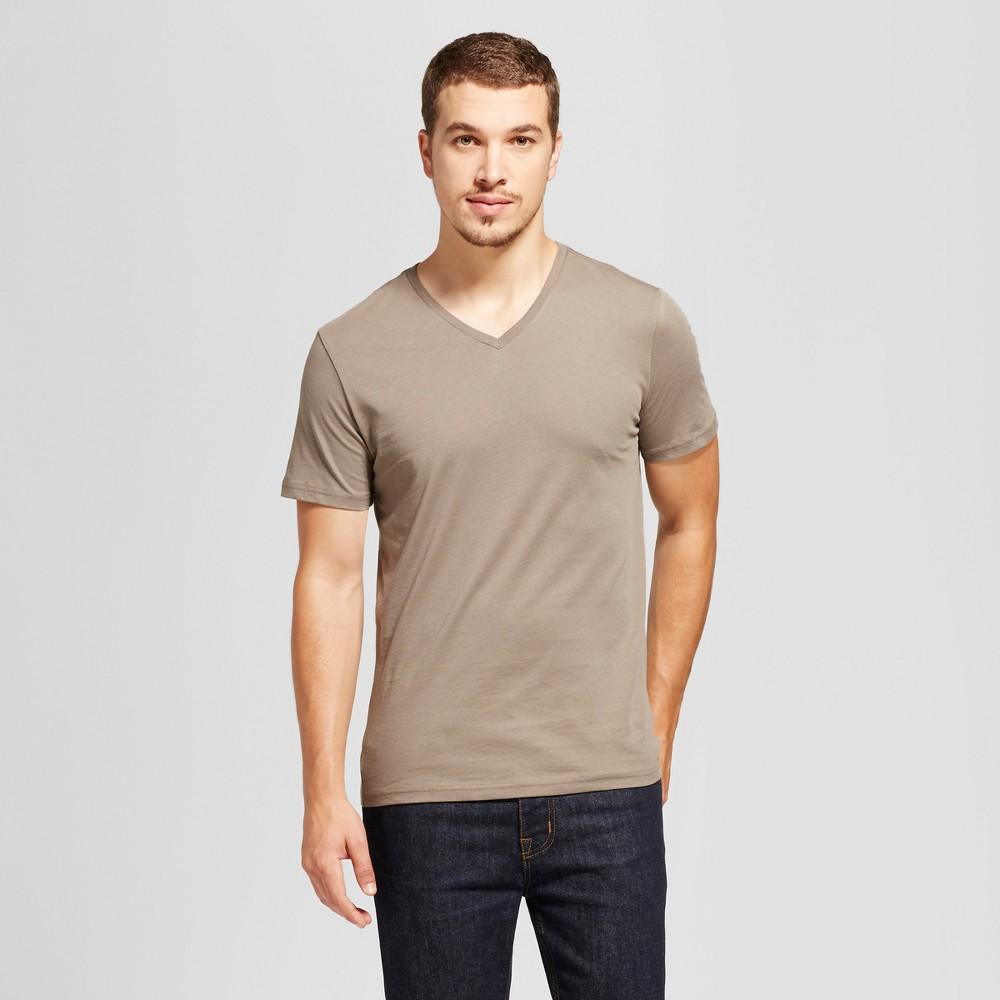 Mens Slim Fit Solid V-Neck T-Shirt - Goodfellow & Co Tan Xxl