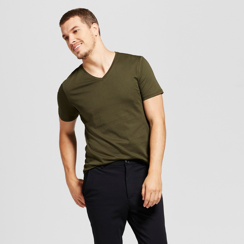 Mens Slim Fit Solid V-Neck T-Shirt - Goodfellow & Co Green XL