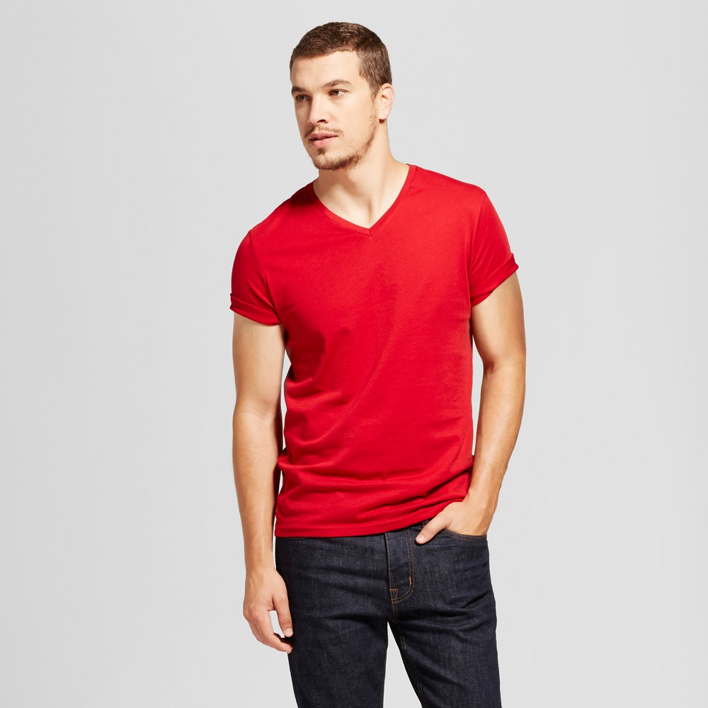 Mens Slim Fit Solid V-Neck T-Shirt - Goodfellow & Co Red Xxl