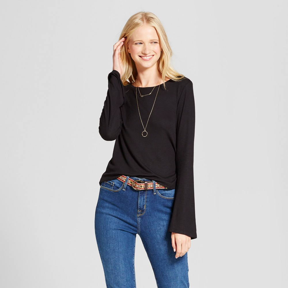 Womens Long Sleeve Rib Bell Sleeve T-Shirt - Mossimo Supply Co. Black M
