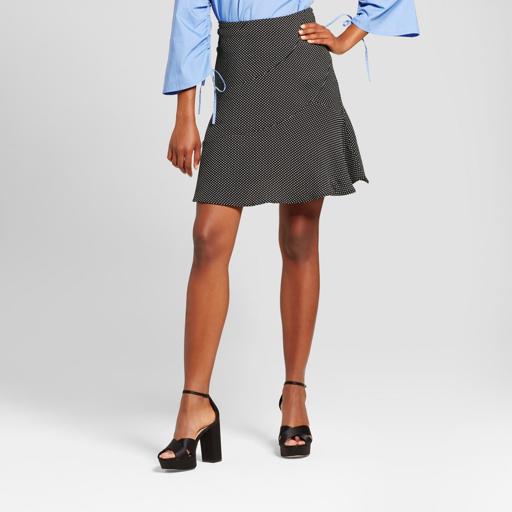 Womens Paneled Ruffle Skirt- Who What Wear Black/White Polka Dot 16