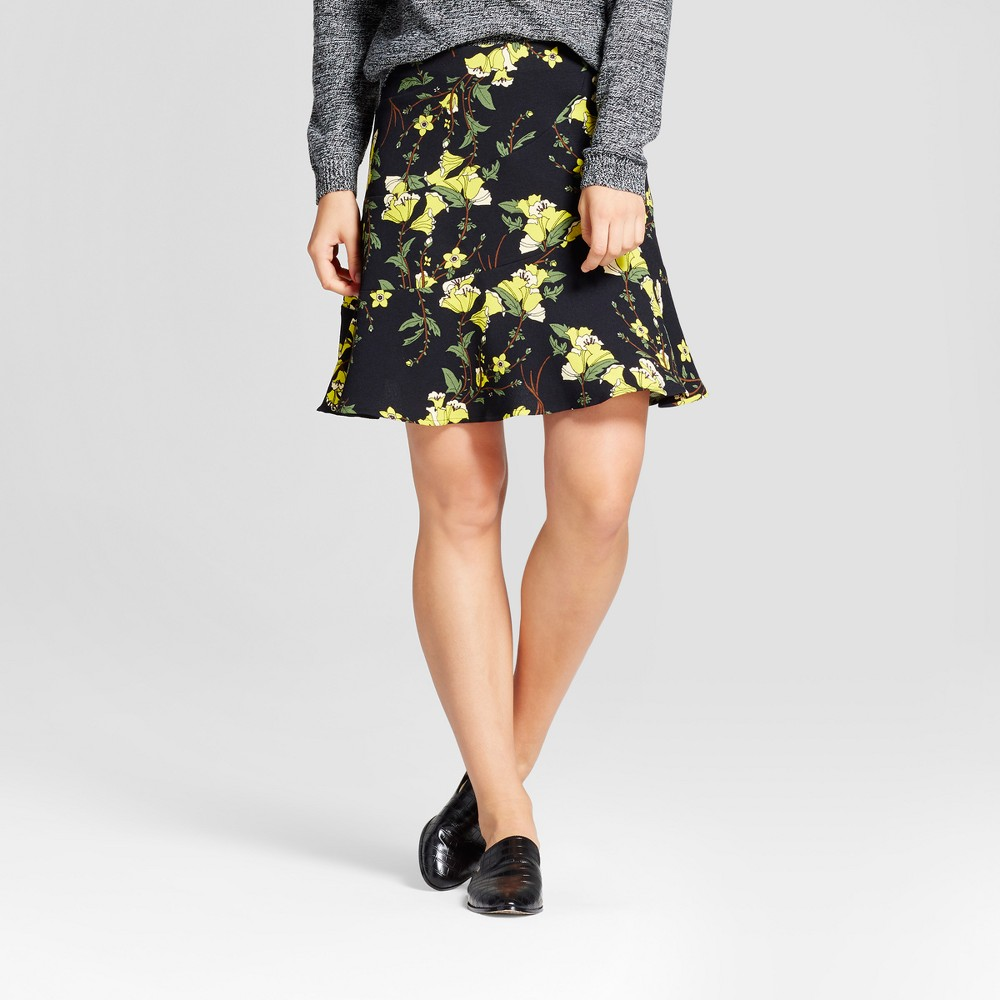 Womens Paneled Ruffle Skirt- Who What Wear Black Floral 6
