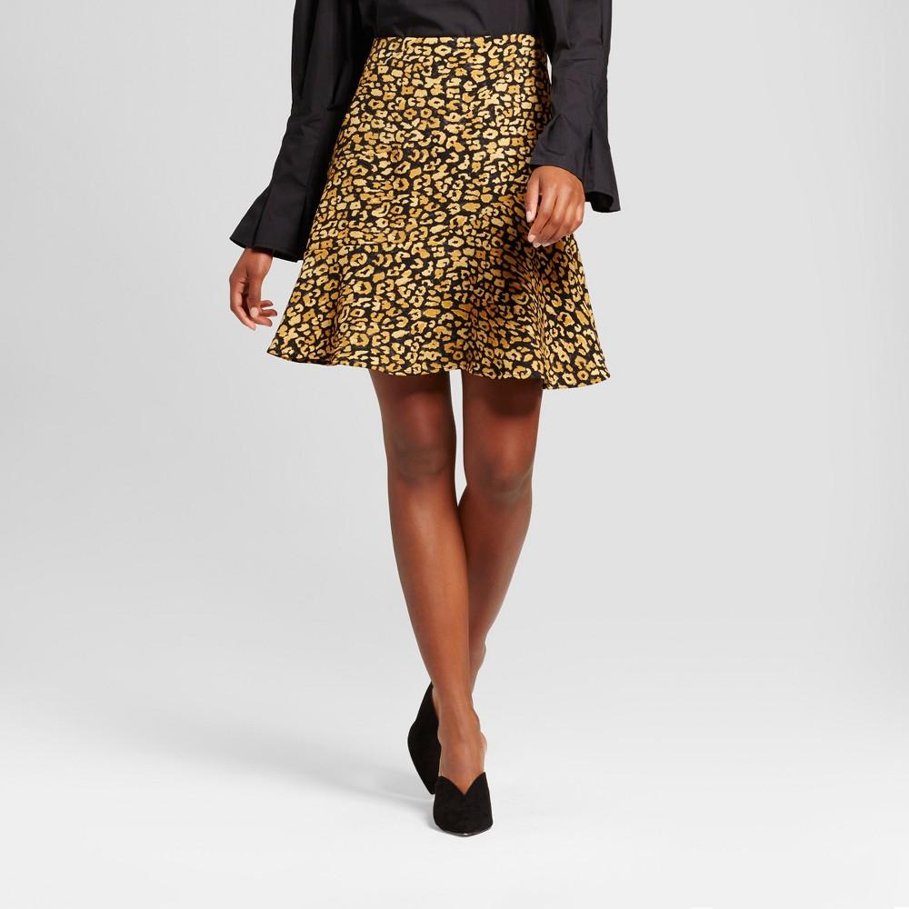 Womens Paneled Ruffle Skirt- Who What Wear Yellow Cheetah 4