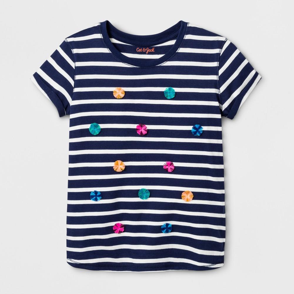 Girls Short Sleeve Stripe Graphic T-Shirt - Cat & Jack Blue XS