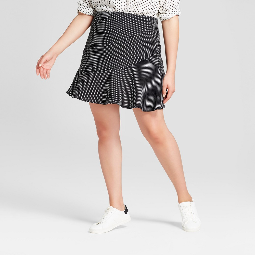 Womens Plus Size Paneled Ruffle Skirt - Who What Wear Black Polka Dot 24W