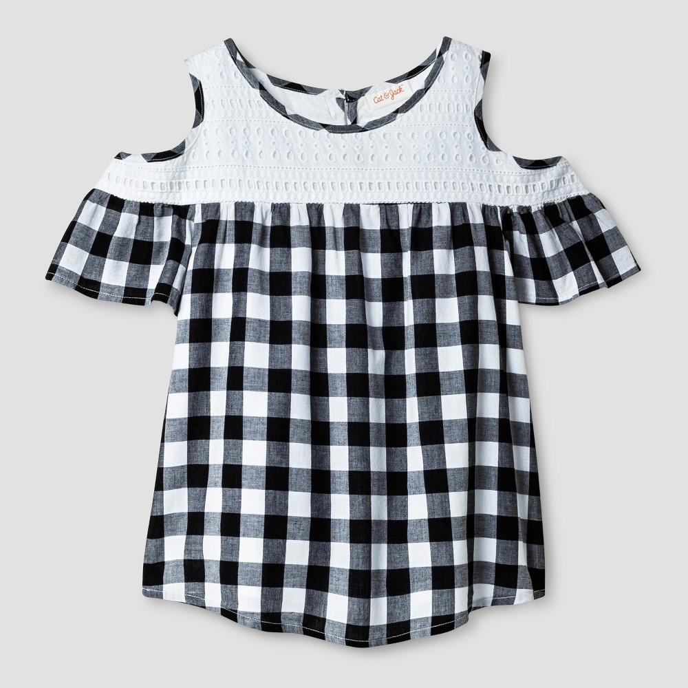 Girls Short Sleeve Cold Shoulder Top - Cat & Jack Black/White M