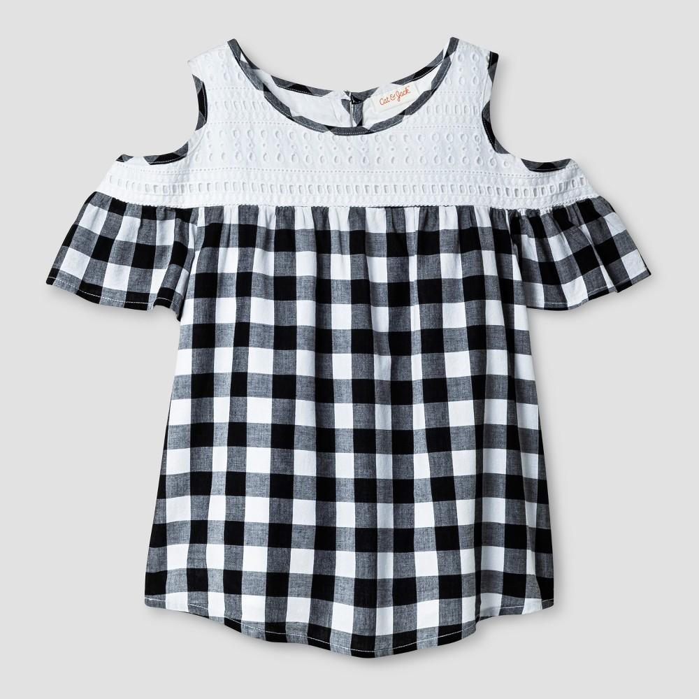 Girls Short Sleeve Cold Shoulder Top - Cat & Jack Black/White XL