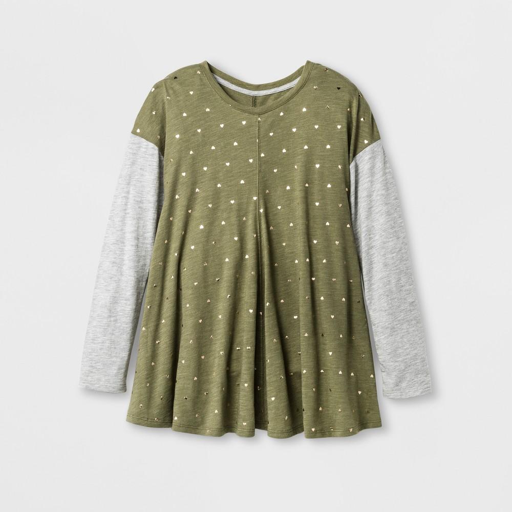 Girls Long sleeve Polka Dot Tunic - Cat & Jack Olive M, Green