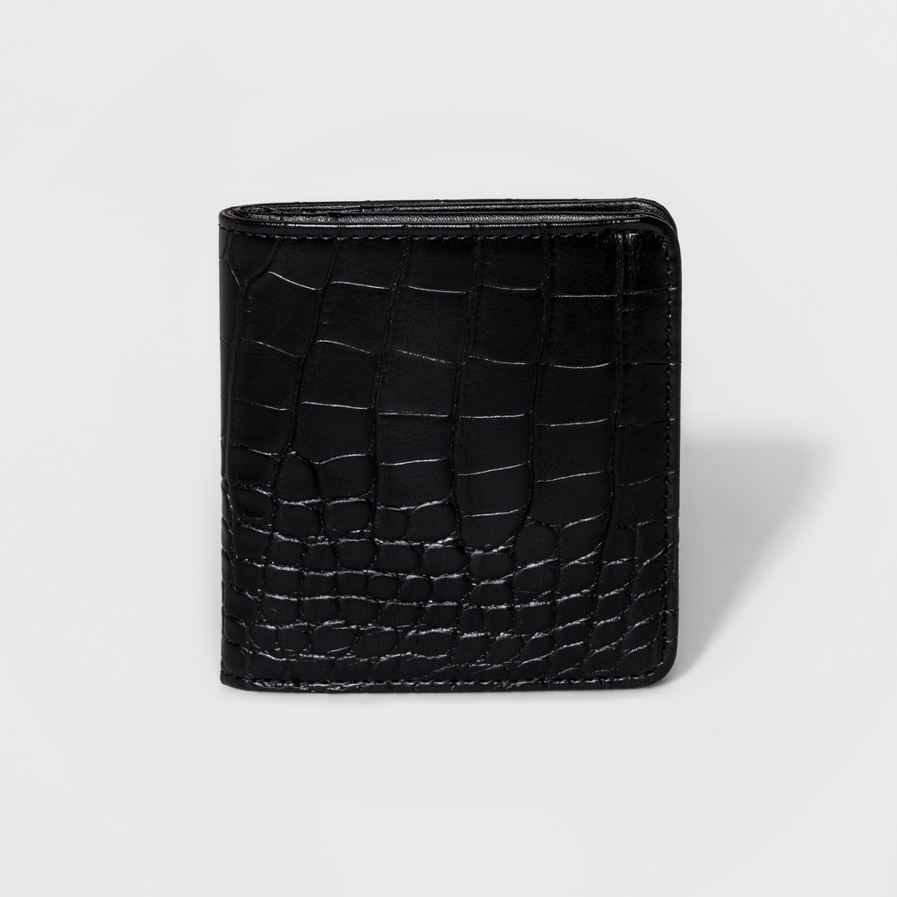 Womens Faux Croc Skin Small Snap-Closure Bifold Wallet - Mossimo Rich Black