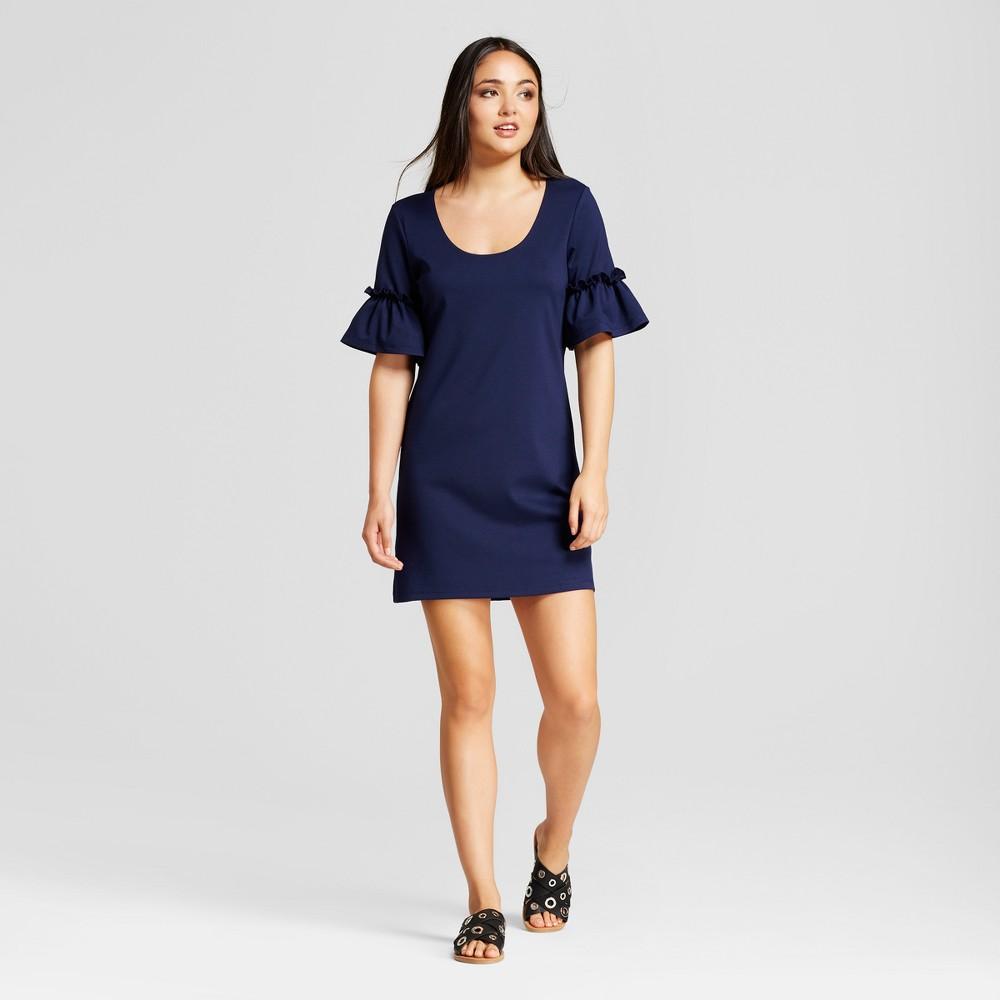 Womens Ruffle Sleeve Shift Dress - Vanity Room Navy XS, Blue