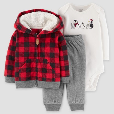 Baby Boys' 3pc Penguin Hooded Fleece Set - Just One You™ Made by Carter's® Buffalo Check 6M