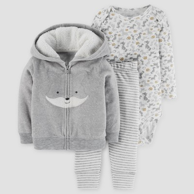Baby Boys' 3pc Fox Hooded Fleece Set - Just One You™ Made by Carter's® Gray 9M