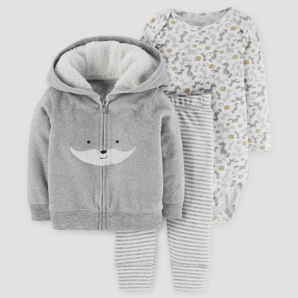 Baby Boys 3pc Fox Hooded Fleece Set - Just One You Made by Carters Gray 9M