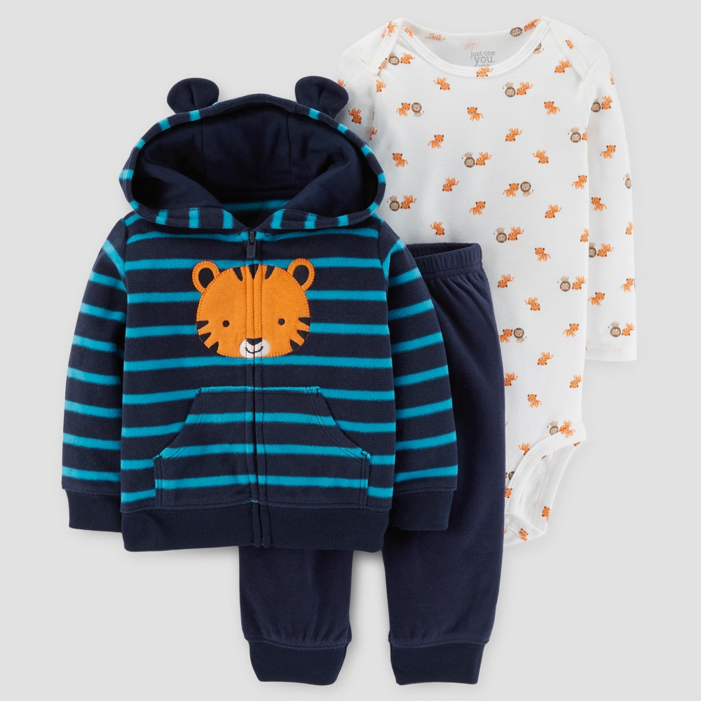 Baby Boys 3pc Tiger Hooded Fleece with Ears Set - Just One You Made by Carters Blue Stripe 6M