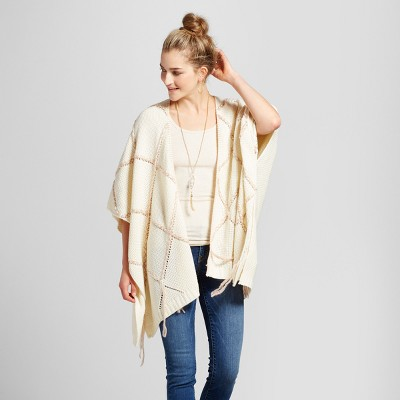 Women's Oversized Grid Poncho - Knox Rose™ Ivory M