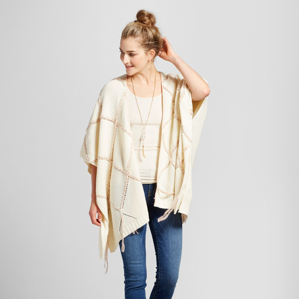 Womens Oversized Grid Poncho - Knox Rose Ivory M, White